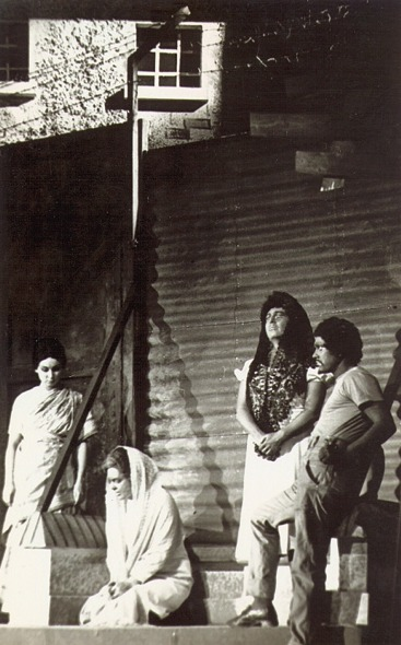 Sumintra, Mrs Lucas, Joseph and African girl outside Georgetown Prison